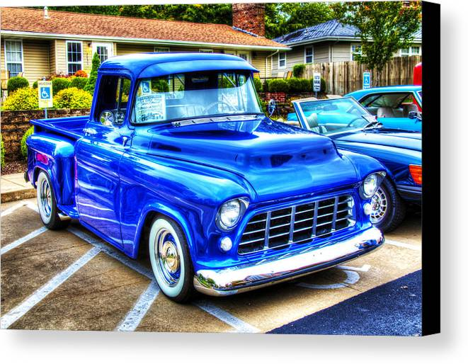 Car Canvas Print featuring the photograph Blue 1956 Chevy Pickup by John Derby