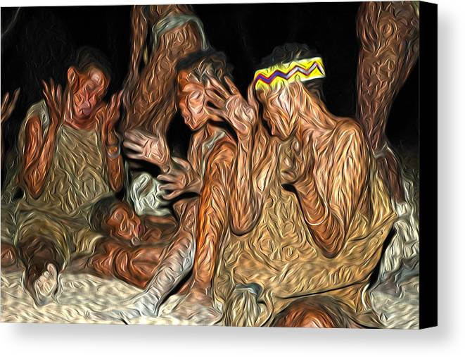 Africa Canvas Print featuring the painting Bushmen by Maurizio Bersanelli
