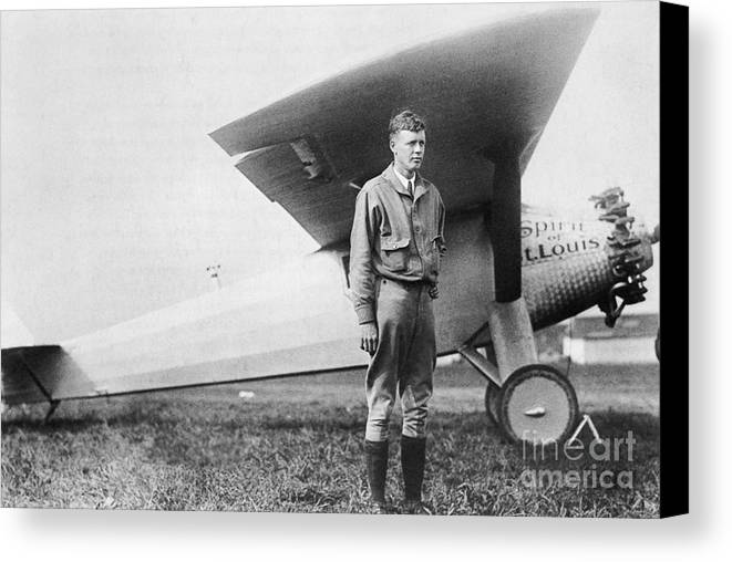 Charles Lindbergh Canvas Print featuring the photograph Charles Lindbergh American Aviator by Photo Researchers