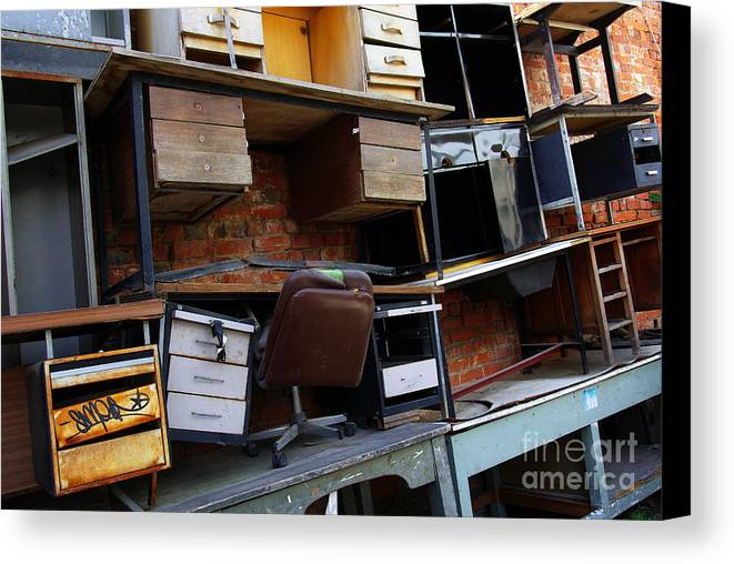 Abandoned Canvas Print featuring the photograph Desk Scrap by Carlos Caetano