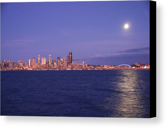 Moon Canvas Print featuring the photograph Full Moon Over Seattle by Michael Merry