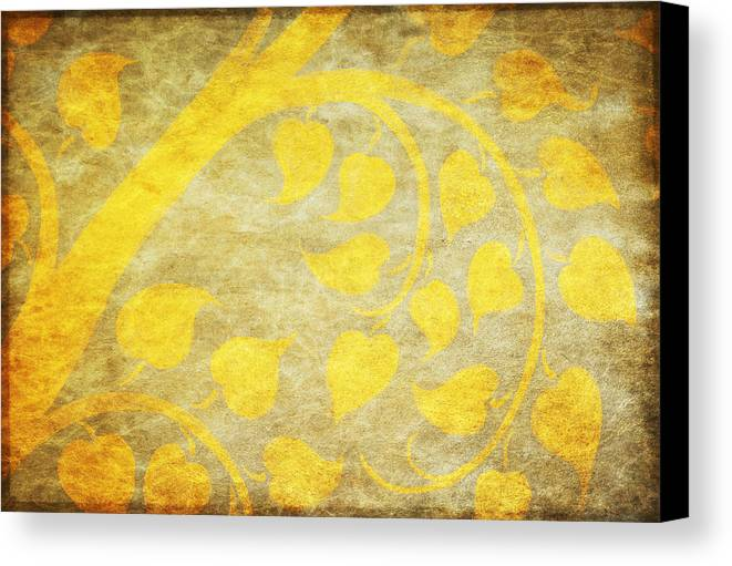 Abstract Canvas Print featuring the painting Golden Tree Pattern On Paper by Setsiri Silapasuwanchai
