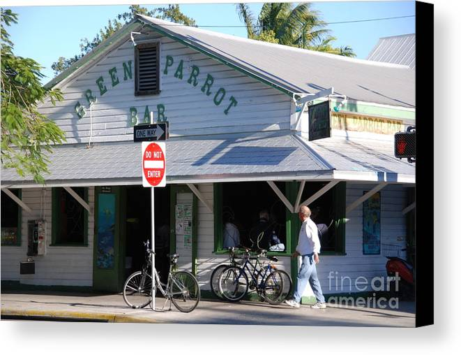 Key West Canvas Print featuring the photograph Green Parrot Bar In Key West by Susanne Van Hulst