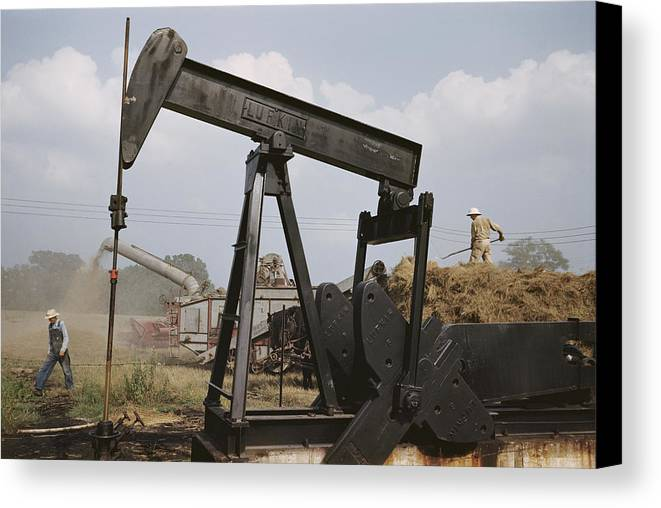 oil Industry And Production Canvas Print featuring the photograph Harvestors Trash Fields While Black by B. Anthony Stewart