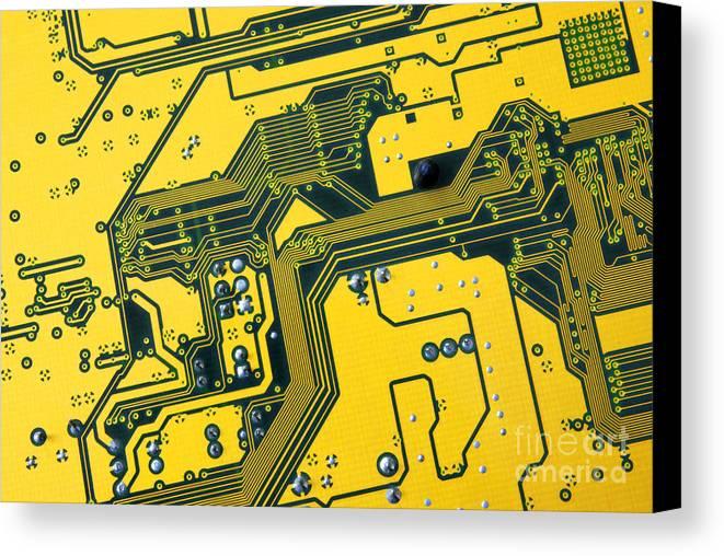 Abstract Canvas Print featuring the photograph Integrated Circuit by Carlos Caetano