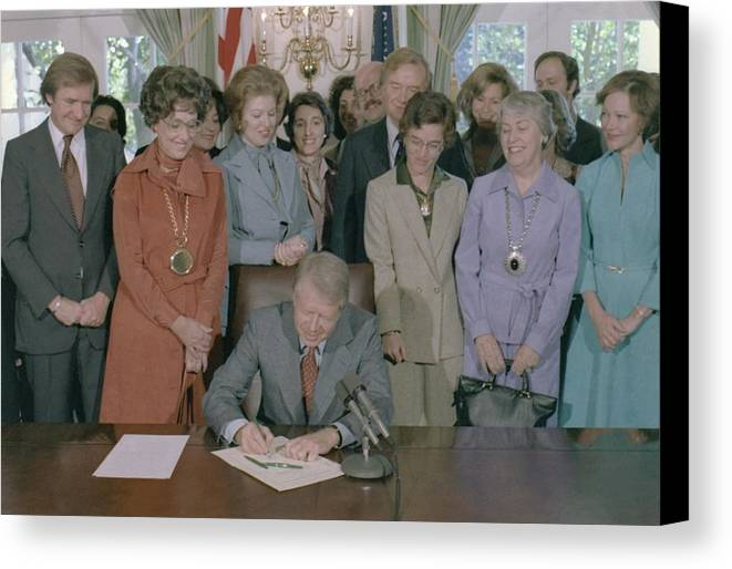 History Canvas Print featuring the photograph Jimmy Carter Signs A House by Everett