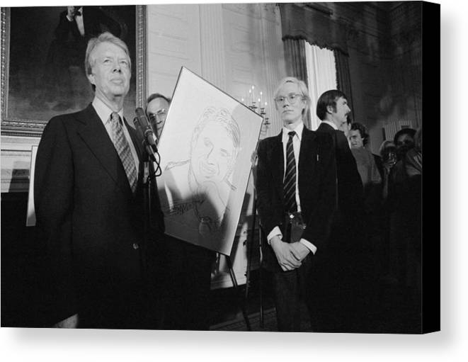 History Canvas Print featuring the photograph Jimmy Carter With Andy Warhol by Everett