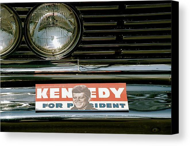 Vote.voted.president.politics.bumper Sticker.jfk.car.old.kennedy.election.memories.remember When. Canvas Print featuring the photograph Mom Voted by Kathy Gibbons