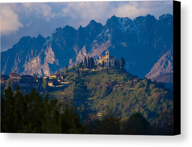Alps Hills Italy Shrine Mountain Chapel High Canvas Print featuring the photograph Montevecchia And Resegone by Marco Busoni