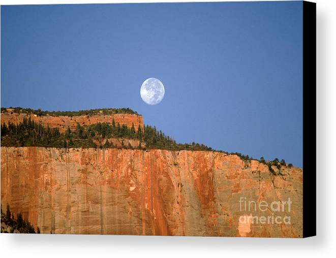 Zion National Park Canvas Print featuring the photograph Moonrise Over East Temple - Zion by Sandra Bronstein