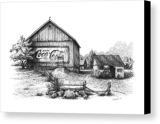 Coca Cola Canvas Print featuring the drawing My Coke Barn by Daniel Paul Murphy