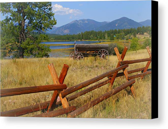 Montana Canvas Print featuring the photograph Old Ranch Wagon by Marty Koch