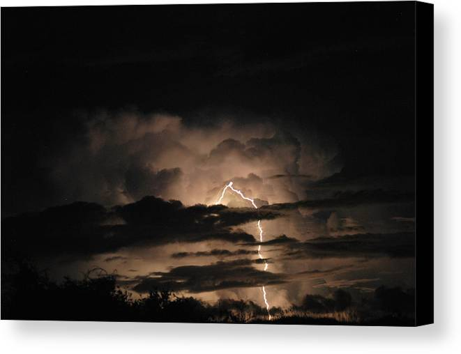 Lightening Canvas Print featuring the photograph One Strike by Julie Strickland