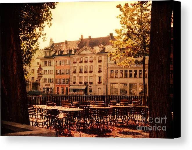 Lucerne Canvas Print featuring the photograph Outdoor Cafe In Lucerne Switzerland by Susanne Van Hulst