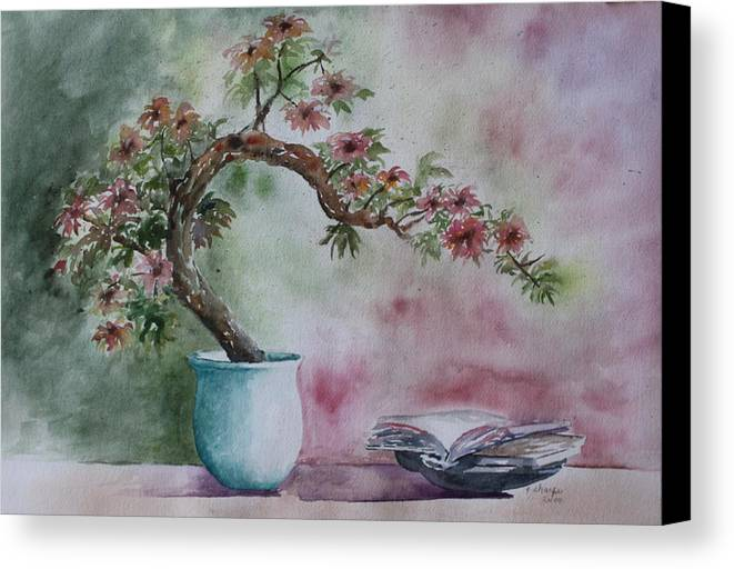 Peaceful Still Life Canvas Print featuring the painting Peace Of Mind by Patsy Sharpe