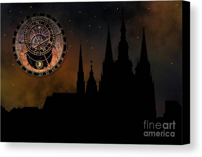 Hradcany Canvas Print featuring the digital art Prague Casle - Cathedral Of St Vitus - Monuments Of Mysterious C by Michal Boubin