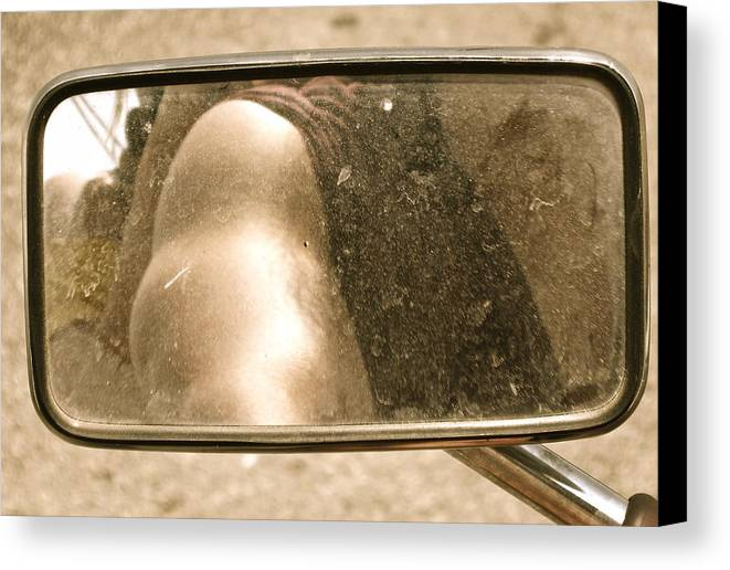 Motorcycle Canvas Print featuring the photograph Rear View Mirror by Diana Ogaard