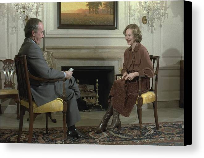 History Canvas Print featuring the photograph Rosalynn Carter During A White House by Everett
