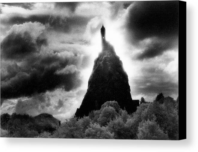 Medieval; Romanesque; Architecture; French; Hilltop; Hill; Landscape; Rural; Countryside; Dramatic; Moonlit; Moonlight; Gothic; Atmospheric; Stormy; Clouds; Spooky; Eerie; Fairytale; Magical; Silhouette; Haunted Canvas Print featuring the photograph Saint Michaels Church by Simon Marsden