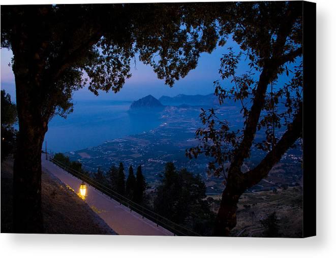 Dusk Sunset Landscape Sea Mediterranean Island Wide Panorama Light Latern Canvas Print featuring the photograph Sicilian Dusk by Marco Busoni