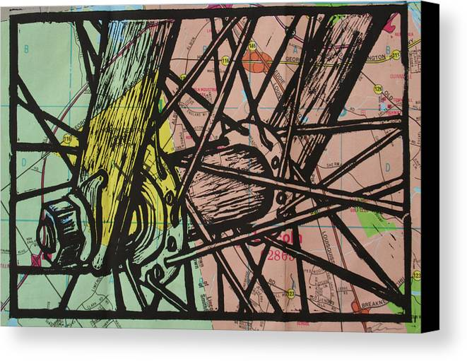 Spokes Canvas Print featuring the drawing Spokes On Map by William Cauthern
