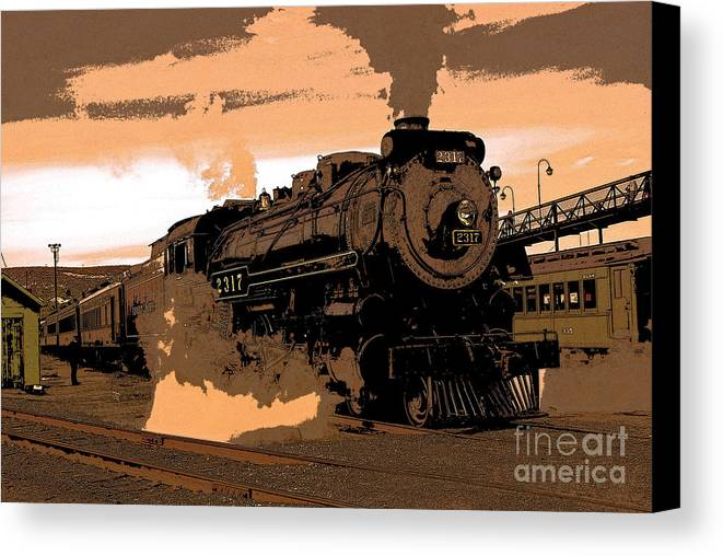 Pennsylvania Canvas Print featuring the photograph Steamtown Engine 2317 - Posterized by Rich Walter