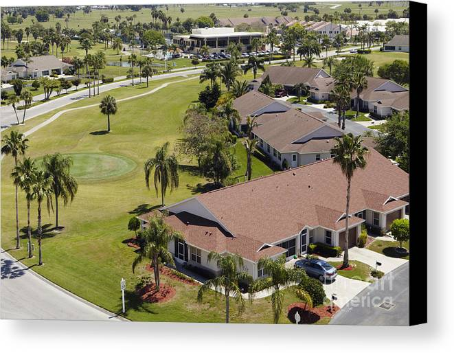 aerial canvas print featuring the photograph suburban community by skip nall