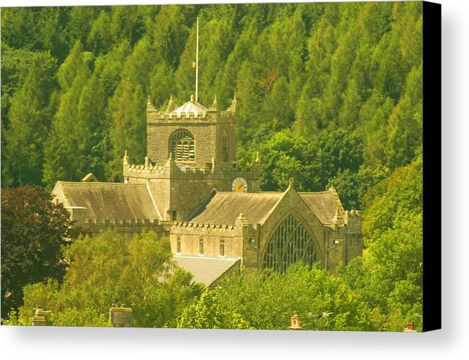 Cartmel Cumbria Canvas Print featuring the photograph The Priory In The Woods by Peter Jenkins