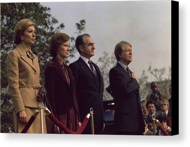 History Canvas Print featuring the photograph The Welcoming Ceremony For The Shah by Everett