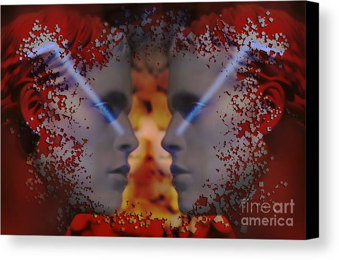 Twins Canvas Print featuring the digital art Twins One Look by Rosa Cobos