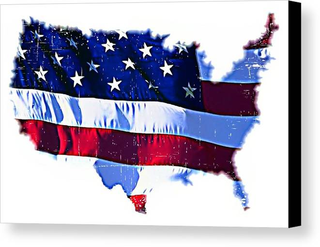 Flag Canvas Print featuring the mixed media U. S. A. by ABA Studio Designs