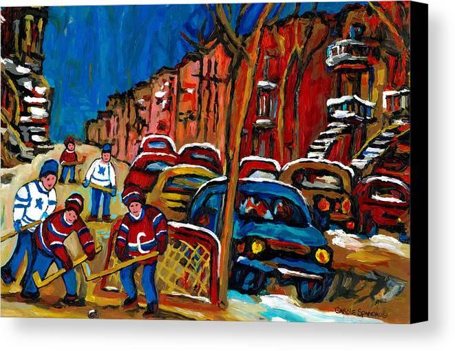 Streets Of Verdun Hockey Paintings By Montreal Artist Carole Spandau Canvas Print featuring the painting Verdun Rowhouses With Hockey - Paintings Of Verdun Montreal Street Scenes In Winter by Carole Spandau