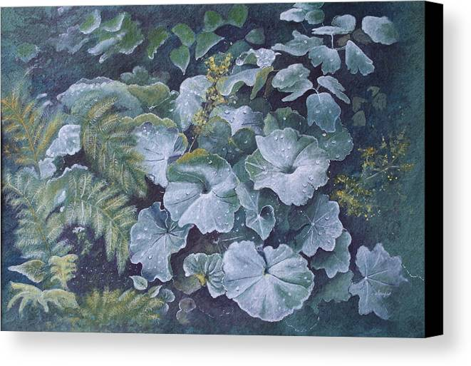 Surreal Landscape Canvas Print featuring the painting Weeping Ladies Mantle by Patsy Sharpe