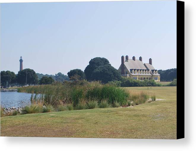 Currituck Canvas Print featuring the photograph Whalehead Club And Currituck Light by Julie Strickland