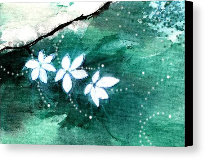Nature Canvas Print featuring the painting White Flowers by Anil Nene