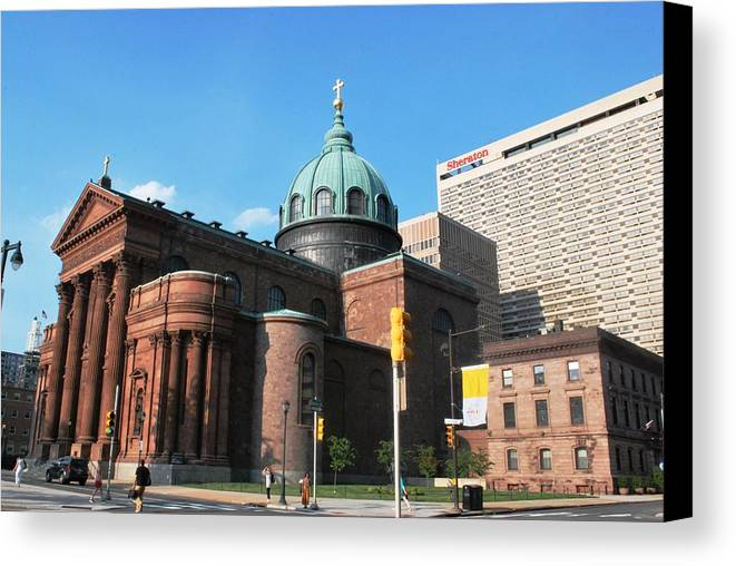 City Canvas Print featuring the photograph Cathedral Basilica Of Saints Peter And Paul Philadelphia by Matt Harang