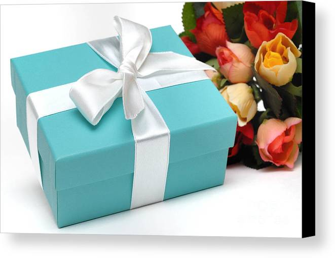Anniversary Canvas Print featuring the photograph Little Blue Gift Box And Flowers by Amy Cicconi