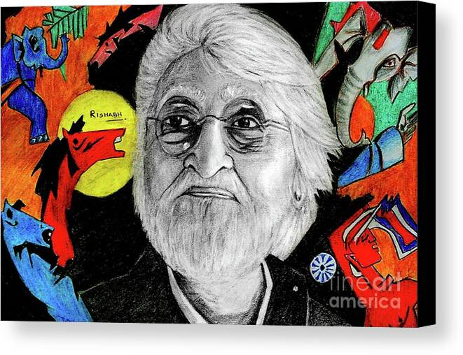 Mf Hussain Canvas Print featuring the drawing Mf Hussain by Rishabh Ranjan