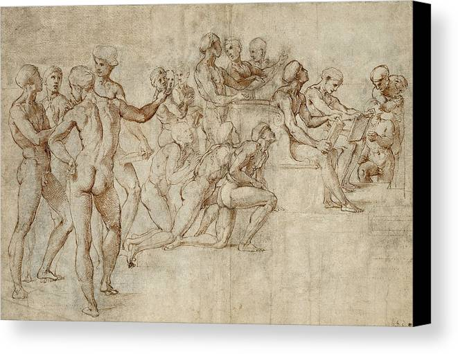 Raphael Canvas Print featuring the drawing Sketch For The Lower Left Section Of The Disputa by Raphael