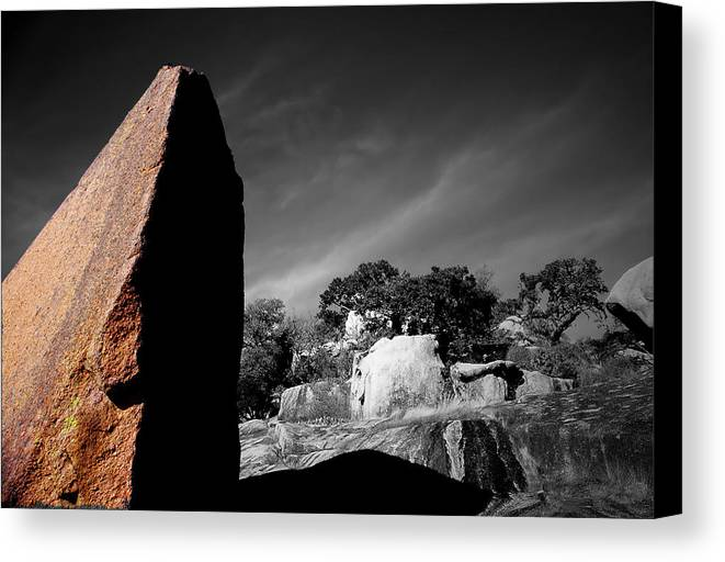 Landscapes Canvas Print featuring the photograph Straight Edge Boulder Enchanted Rock Texas by Tom Fant