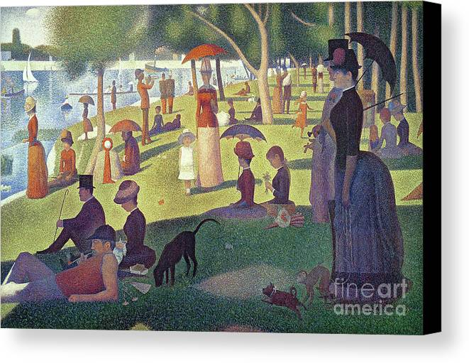 Sunday Afternoon On The Island Of La Grande Jatte Canvas Print featuring the painting Sunday Afternoon On The Island Of La Grande Jatte by Georges Pierre Seurat