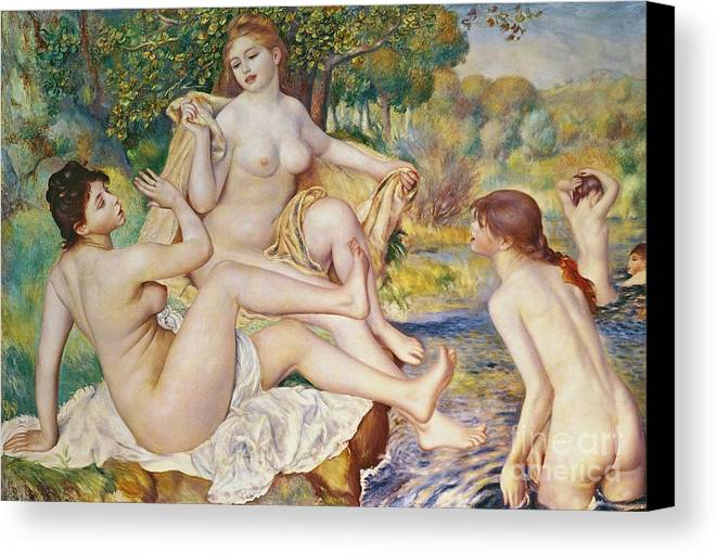 The Canvas Print featuring the painting The Bathers by Pierre Auguste Renoir