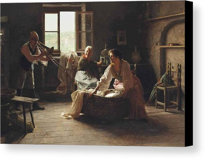 Giovanni Battista Torriglia Canvas Print featuring the painting The Lullaby by Giovanni Battista