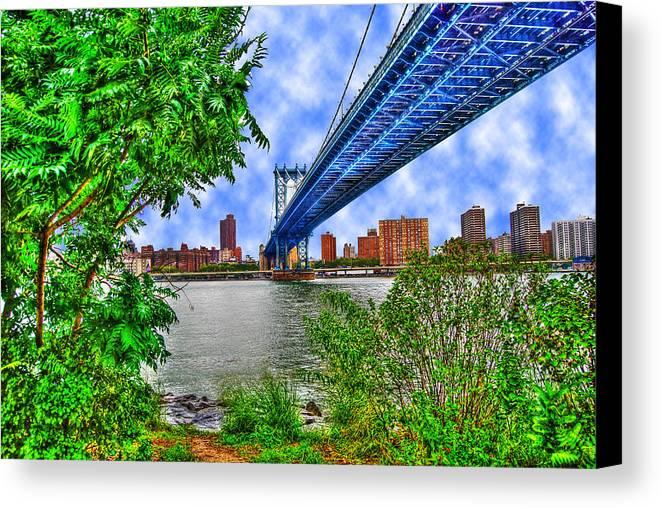 Manhattan Bridge Canvas Print featuring the photograph Under The Bridge by Randy Aveille