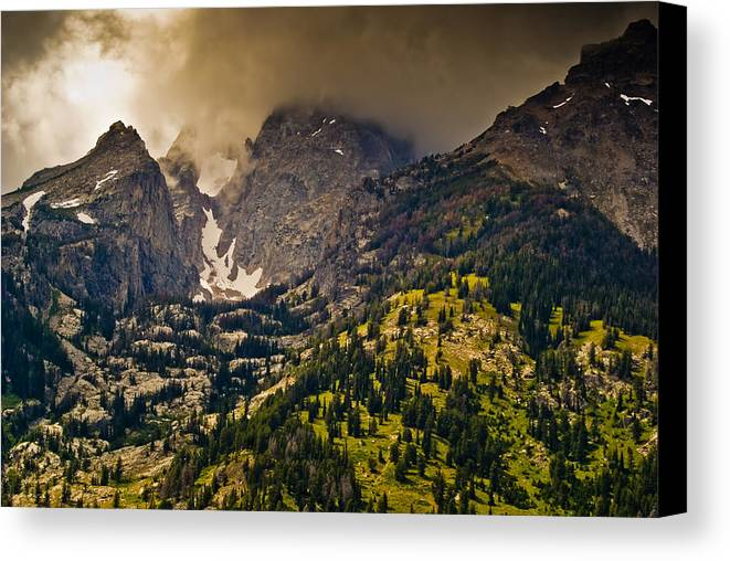 Wyoming Canvas Print featuring the photograph Grand Tetons by Patrick Flynn