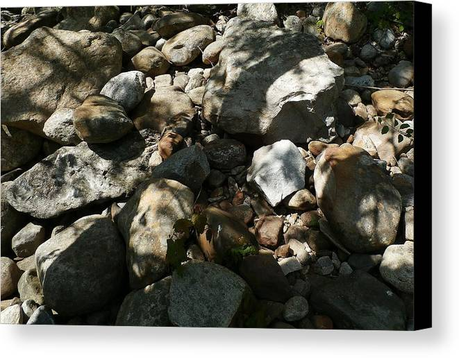 River Canvas Print featuring the photograph River Stones by Wolfgang Schweizer