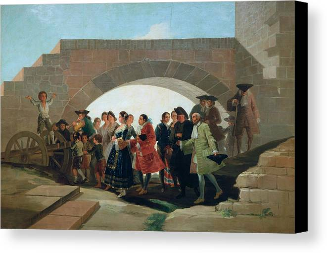Celebrating Canvas Print featuring the painting The Wedding by Francisco Goya
