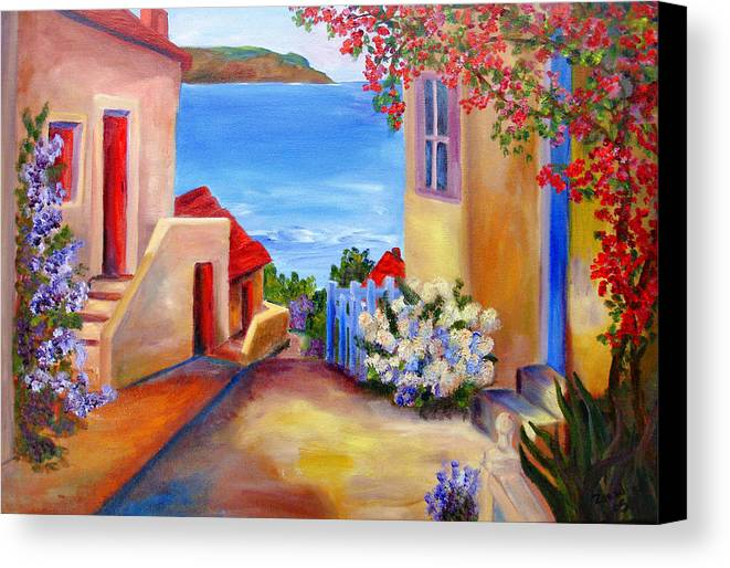 Italian Villa Canvas Print featuring the painting Tuscany Village by Mary Jo Zorad