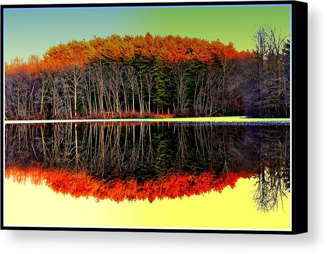 Canvas Print featuring the digital art Reflections At Farrington Lake by Aron Chervin