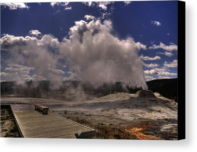 Yellowstone Geyser Canvas Print featuring the photograph Yellowstone Sky by Patrick Flynn